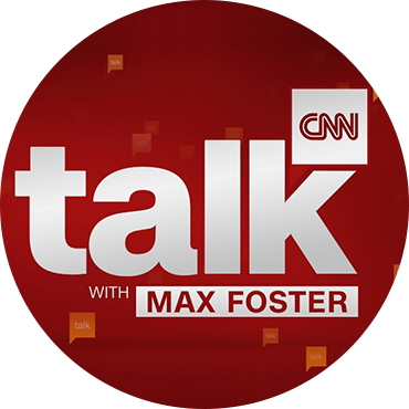 "Logo programu CNN ""talk with Max Foster"""